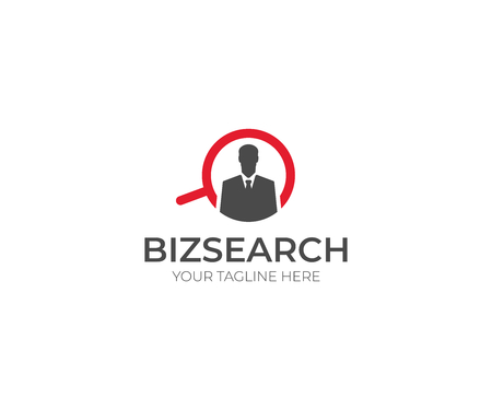 Businessman and Search Logo Template. Man and Magnifier Vector Design. Search Work Illustration 向量圖像