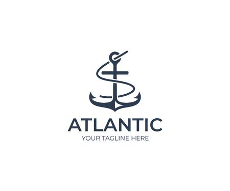Anchor Logo Template. Marine Vector Design. Nautical Illustration