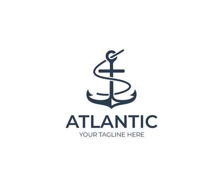 Anchor Logo Template. Marine Vector Design. Nautical Illustration