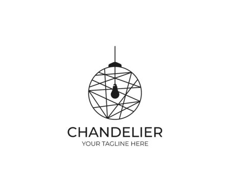 Chandelier Logo Template. Lustre Vector Design. Lightbulb Illustration