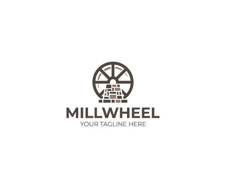 Millwheel Logo Template. Watermill Vector Design. Mill and Water Illustration