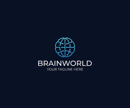 Brain World Logo Template. Circuits Vector Design. Artificial Intelligence Illustration Illustration