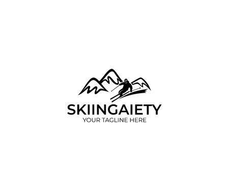 Skiing Template. Mountains and Skier Vector Design. Slalom Illustration Illustration