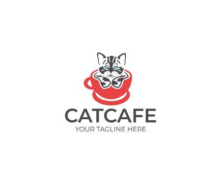 A Cat in the Cup Logo Template. Animal Vector Design. Pet Illustration Ilustração