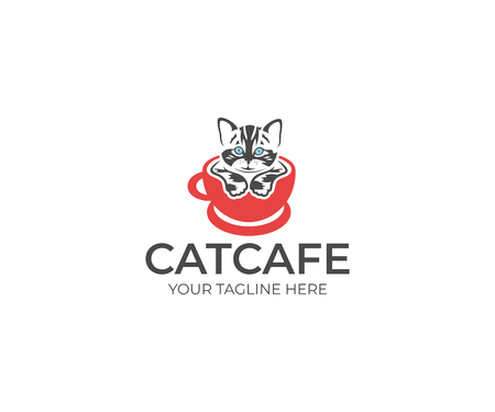 A Cat in the Cup Logo Template. Animal Vector Design. Pet Illustration Vectores