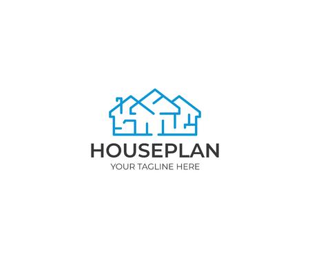 House Plan Logo Template. Floorplan Vector Design. Home Illustration Ilustração