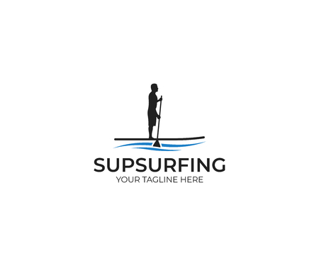 Sup Surfing Template. Paddle Boarding Vector Design. Stand Up Paddle Illustration