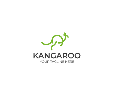 Line kangaroo icon template. Abstract wallaby vector design. Animal illustration.