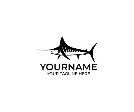 Marlin Fish Black Logo Template. Billfish Vector Design. Swordfish Illustration.