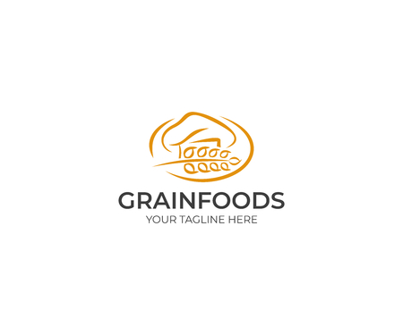 Chef Hat and Spikelet Logo Template. Chef Cap and Wheat Vector Design. Grain Products Illustration