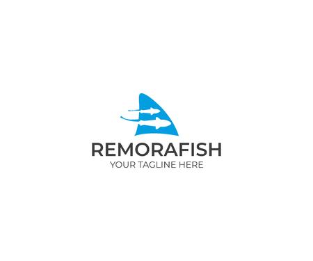Remora Fish and Shark Fin Logo Template. Sharksucker Vector Design. Sea Life Illustration