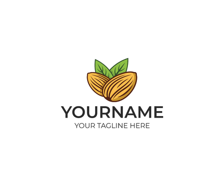 Almond colorful logo template. Plant vector design. Eco food illustration