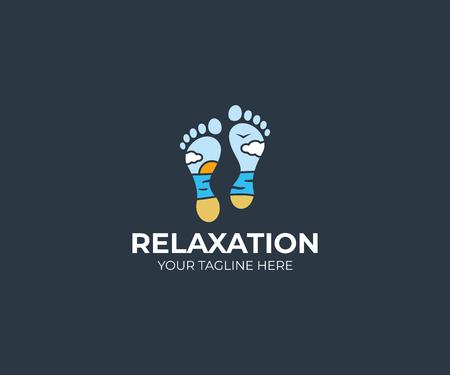 Seascape and foot logo template. Feet and beach vector design. Resort illustration Illustration