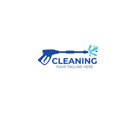 Pressure washing logo template. Cleaning vector design. Tools illustration Çizim