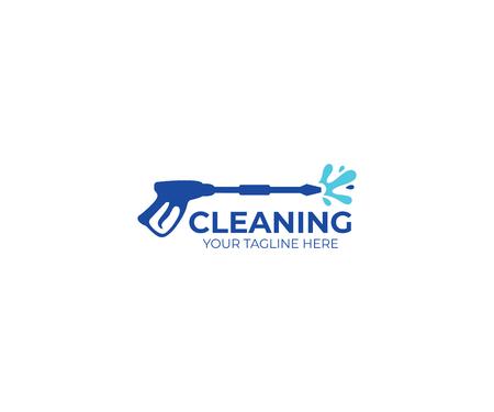 Szablon logo mycia ciśnieniowego. Czyszczenie projektu wektorowego. Ilustracja narzędzi