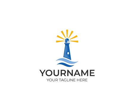 Lighthouse logo template. Seascape vector design. Lighthouse searchlight for maritime navigation illustration