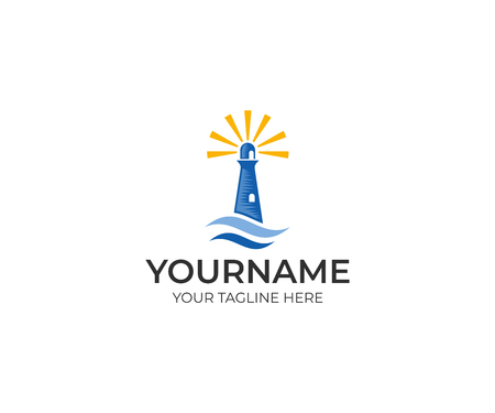 Lighthouse logo template. Seascape vector design. Lighthouse searchlight for maritime navigation illustration