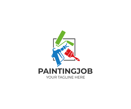 Painting tools template. Roller brush and airless spray gun vector design. House painting service illustration
