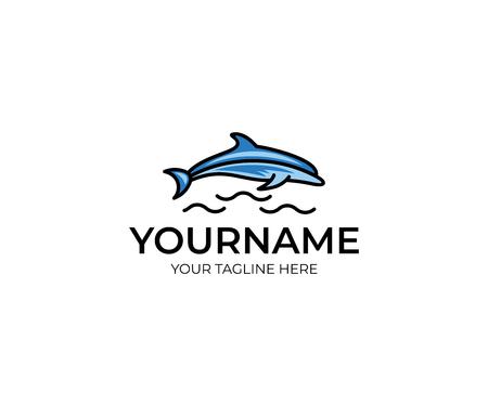 Kleurrijke dolfijn logo sjabloon. Vis vector ontwerp. Dierlijke illustratie