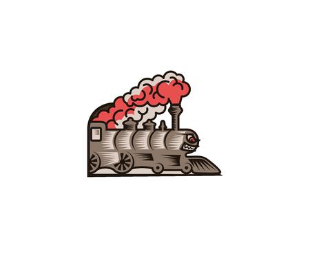 Cartoon gray locomotive logo template. Linear old train vector design. Railway transport retro illustration