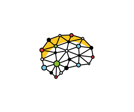 Brain blockchain logo template orange. Neuronal digital communication vector design. Mind dots illustration Illustration