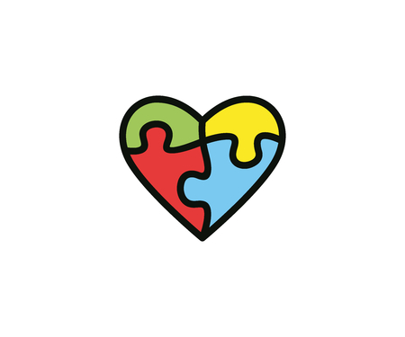 Heart and puzzle logo template colorful. Health vector design. Jigsaw illustration