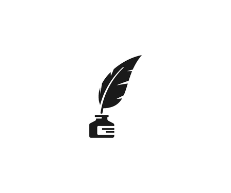 Inkwell and feather pen logo template. Ink bottle and quill pen vector design. Writer illustration