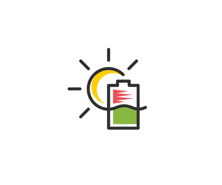Battery indicator and sun icon template. Renewable energy sources vector design green energy illustration.  イラスト・ベクター素材