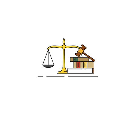 Law and justice concept icon. Legal line vector design. Law scale, book and gavel hammer illustration