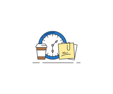 Time management concept icon. Coffee break vector design. Clock, coffee сup and notes illustration.