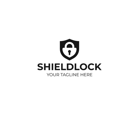 Shield and padlock logo template. Shield lock vector design. Security Vector illustration. 向量圖像