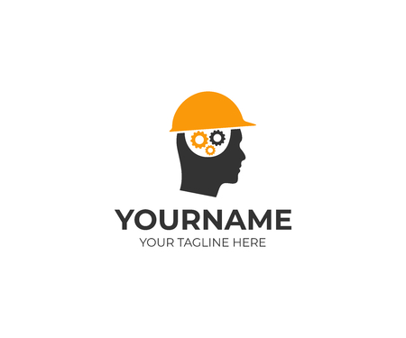 Builder man in a helmet and a brain of gears logo template. Man thinks over a construction project vector design. Head of a man in a construction helmet illustration
