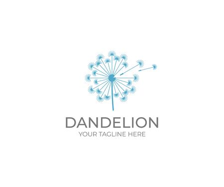 Szablon logo mniszka lekarskiego. Projekt wektor kwiat taraxacum. Ilustracja dmuchawa