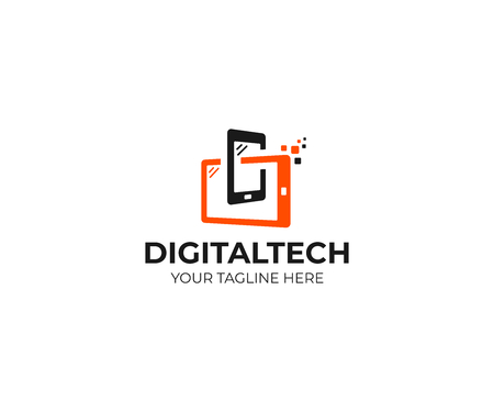 Digital technology logo template. Mobile phone and tablet vector design. Smart gadgets illustration Illusztráció