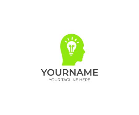 Human head and brain bulb icon template. Creative idea and light. Idea concept illustration Illustration