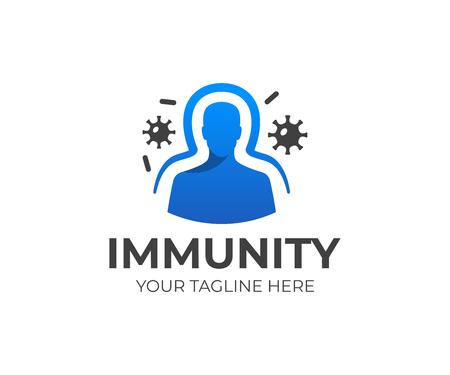 Projekt wektora ludzkiego układu odpornościowego z ilustracji wirusów i bakterii. Ilustracje wektorowe