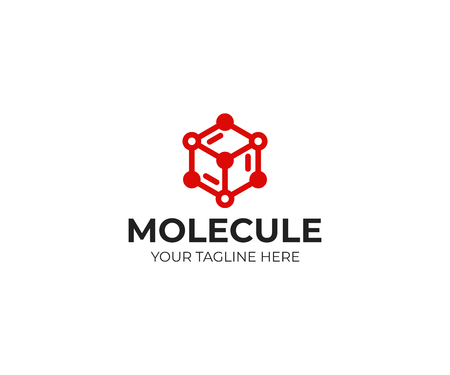 Molecular structure icon template. Chemical structure vector design. Cube network illustration.