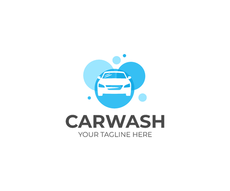 Car wash logo template. Auto wash vector design. Cleaning service illustration Illustration
