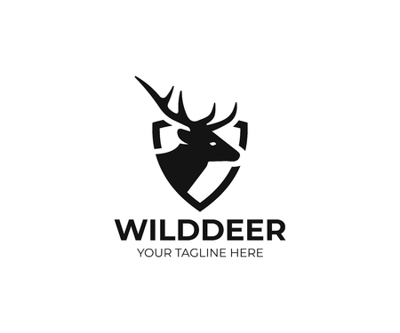 Deer and shield logo template. Stock Illustratie