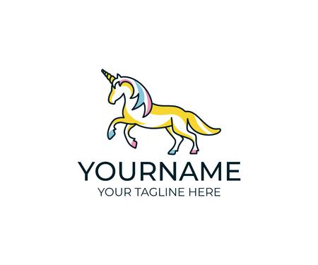 Unicorn linear logo template.