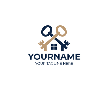 Keys and house logo template. Real estate and sale property vector design. Vettoriali