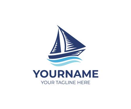 Sailboat on waves logo template. Ship and cruise travel design. Sea transport, vessel illustration Illustration