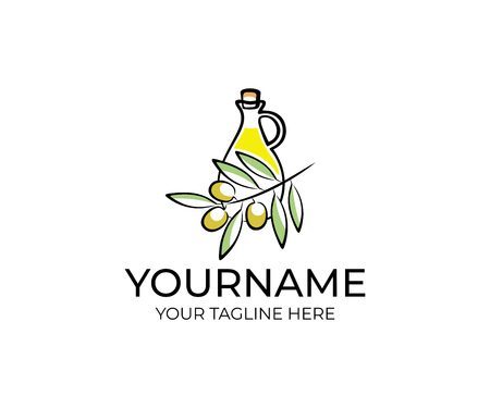 Olive oil in a glass bottle and olive branch with olives and leaves logo template.  Vector illustration.