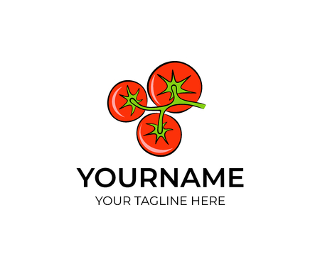 red tomatoes in bunch on branch isolated logo template farm