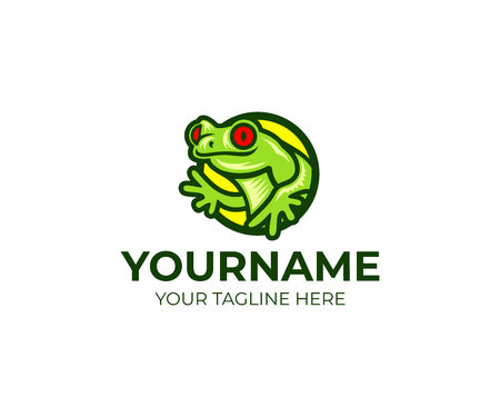 Frog and amphibian logo template. Red-eyed tree frog and toad vector design. Tropical animal illustration