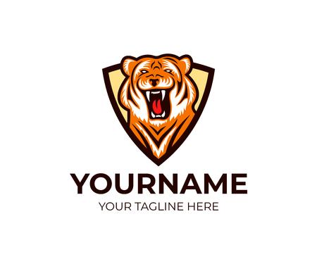 Tiger in shield logo template. Striped beast and predator vector design. Animal illustration