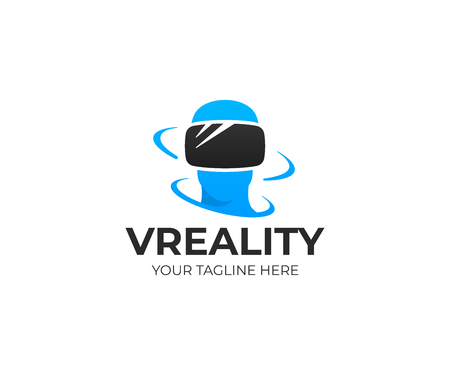 Virtual reality logo template. Innovation technologies vector design. VR glasses and human face logotype Vettoriali