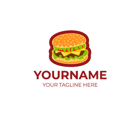 Burger logo template. Grilled beef burger and hamburger with tomato, lettuce and cheese vector design. Fast food and meal illustration