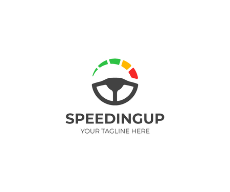 Steering Wheel and speedometer logo template. Driving school vector design. Tachometer logotype