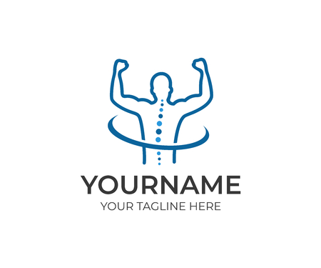 Healthy spine and joyful man with hands up logo template. Medical diagnostic center, treatment and care behind spine vector design.